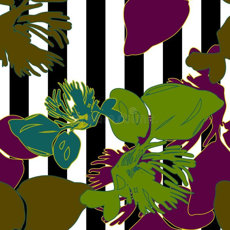 Natura kwiat bezszwowy na czarny i biały lampasie zdjęcie stock
