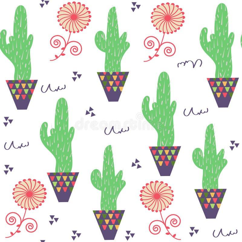 Natura kwiecisty dziwny śmieszny kaktusowy bezszwowy wzór i bezszwowy pa ilustracja wektor