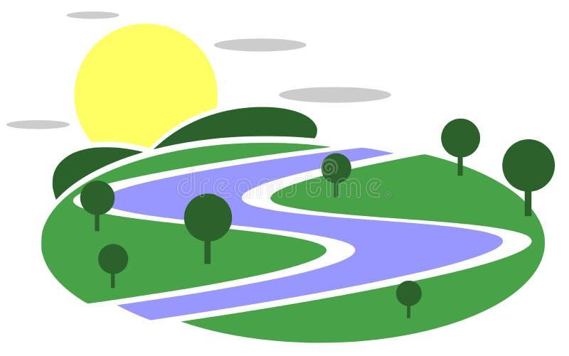 Natura logo z słońcem i rzeką ilustracja wektor