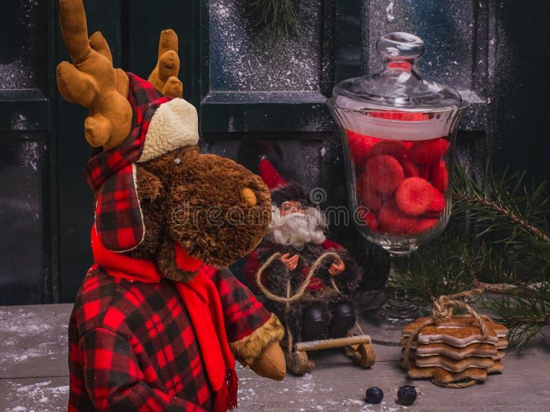 Natura morta accogliente di Natale con la renna dell'orsacchiotto, bambola di Santa Claus fotografia stock