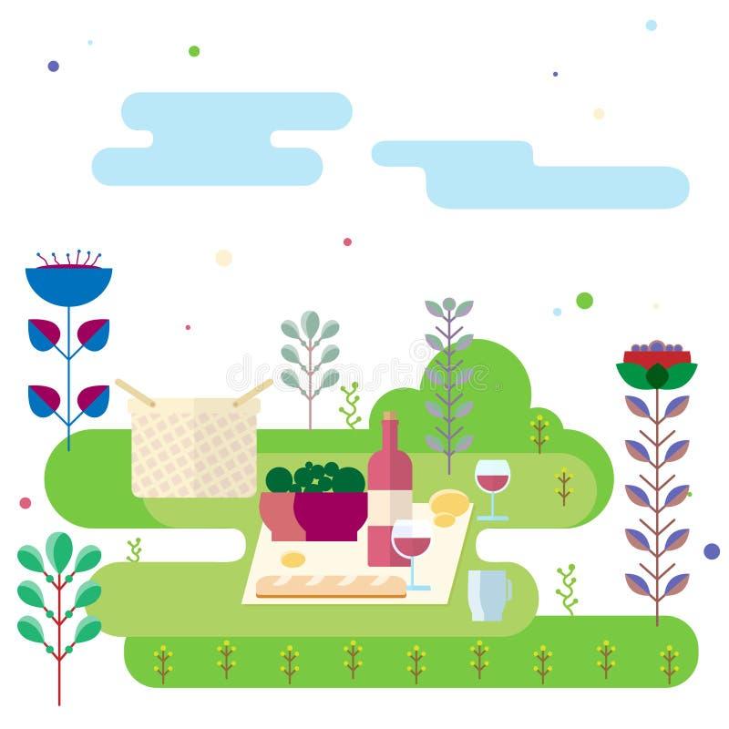 Natura morta all'aperto astratta di picnic con alimento, la bevanda, la pianta ed i fiori illustrazione di stock