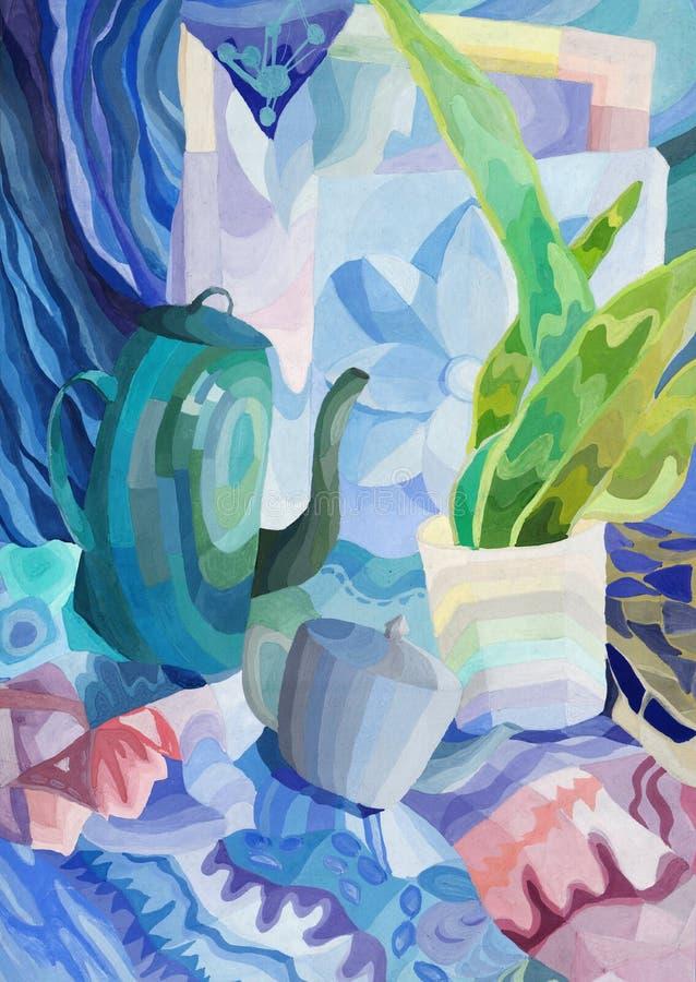 Natura morta astratta con gli oggetti di vita di tutti i giorni nei colori freddi, dipingenti royalty illustrazione gratis