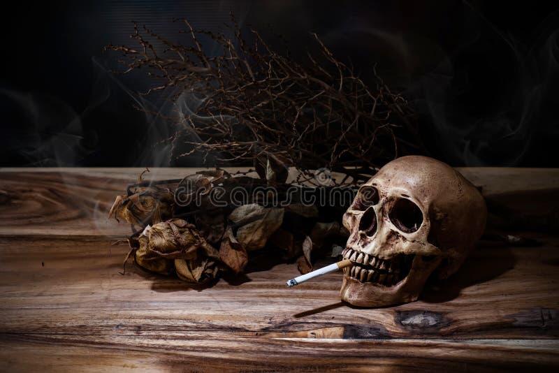 Natura morta che fuma cranio umano con la sigaretta sulla tavola di legno fotografia stock