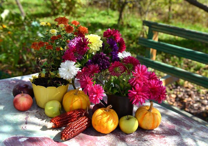 Natura morta con l'aster di autunno, fiori della dalia e della margherita, mais rosso e zucca immagine stock libera da diritti