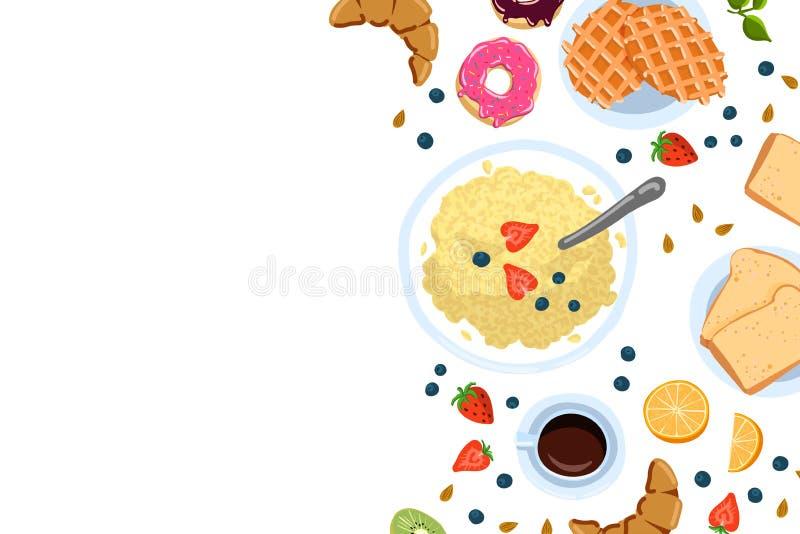 Natura morta con la prima colazione in una vista superiore di stile piano di scarabocchio e con il posto per l'illustrazione di v royalty illustrazione gratis