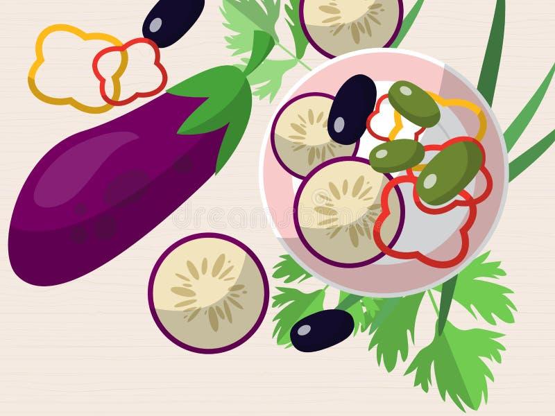 Natura morta con melanzana, peperoni tagliati, olive, le erbe fresche e un piatto sulla tavola Vettore illustrazione di stock