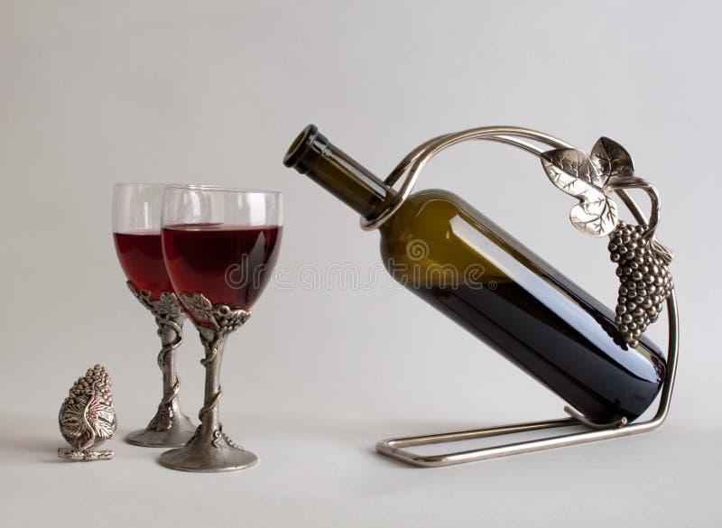 Natura morta con vino fotografia stock