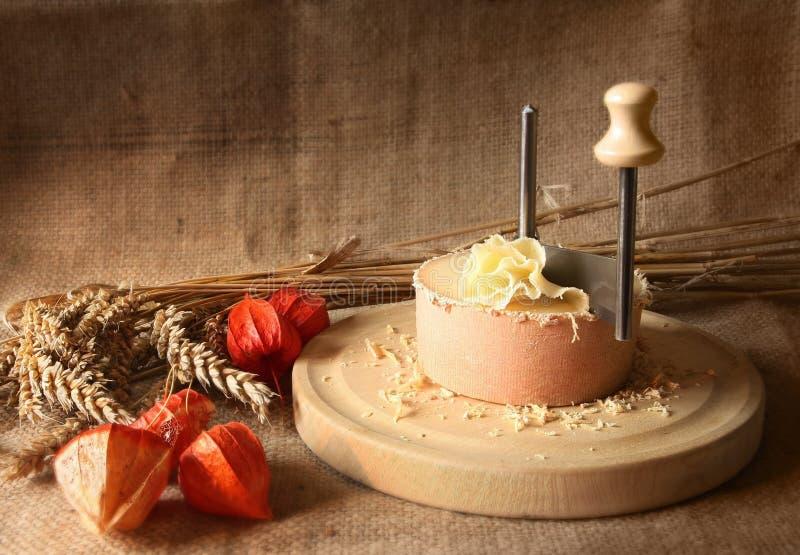 Natura morta d'annata di formaggio svizzero Tete de Moine fotografia stock