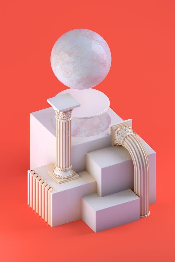 natura morta 3d con la sfera di marmo e le forme architettoniche royalty illustrazione gratis