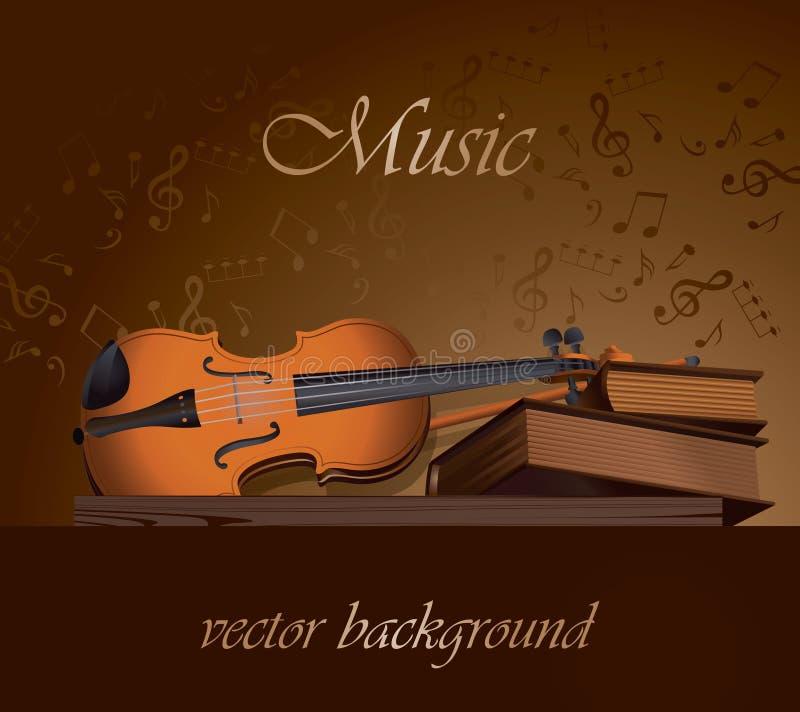Natura morta dei libri e del violino royalty illustrazione gratis