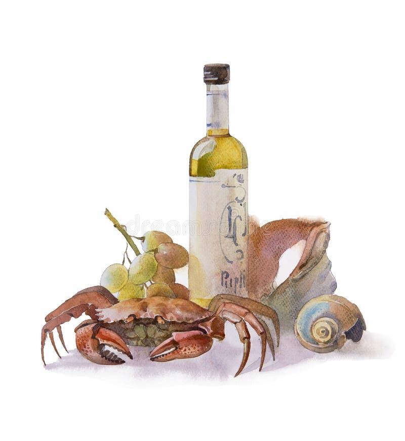 Natura morta del mare con il vino, il granchio e l'uva della bottiglia royalty illustrazione gratis