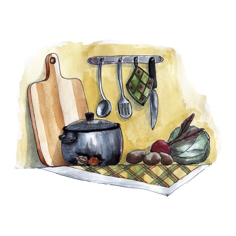 Natura morta dell'acquerello con i vasi e le verdure royalty illustrazione gratis