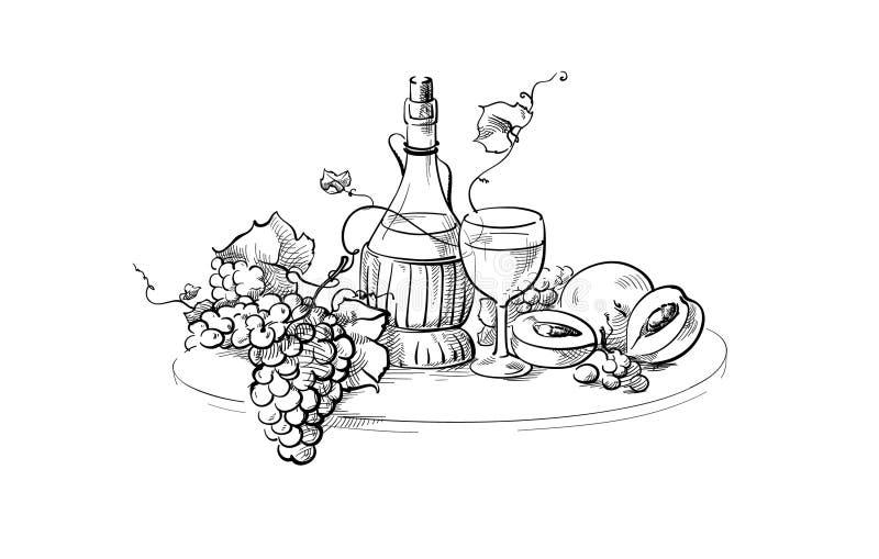 Natura morta della bottiglia e di vetro di vino illustrazione di stock
