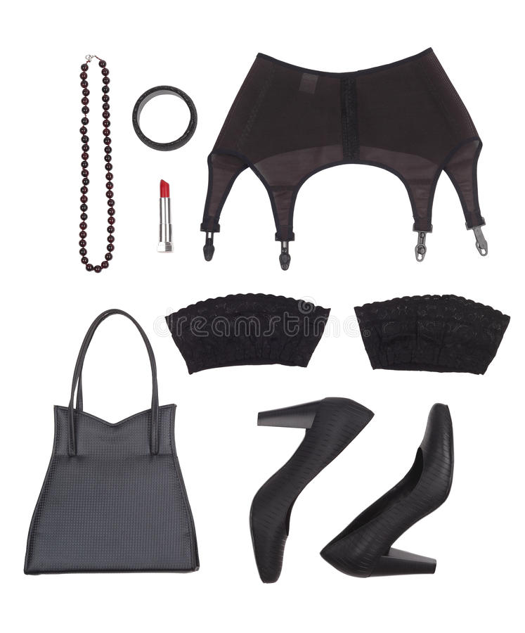 Natura morta della donna sessuale Vista sopraelevata degli accessori delle donne nei toni neri immagine stock libera da diritti