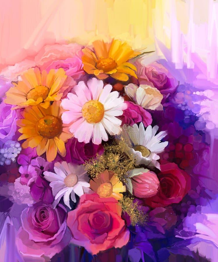 Natura morta della pittura a olio del fiore giallo, rosso e rosa di colore illustrazione vettoriale