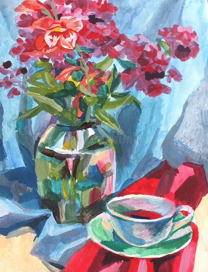 Natura morta della pittura a olio di struttura della pittura, una bevanda della tazza di caffè e fiori royalty illustrazione gratis