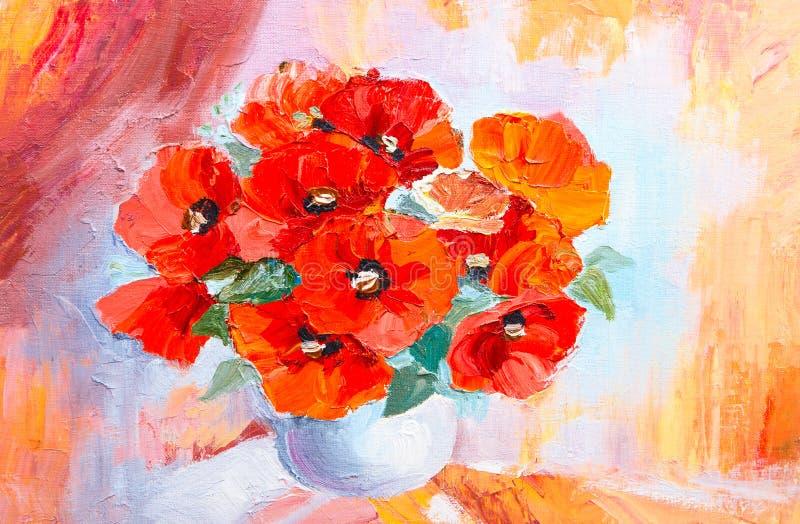 Natura morta della pittura a olio, mazzo astratto dell'acquerello dei papaveri royalty illustrazione gratis