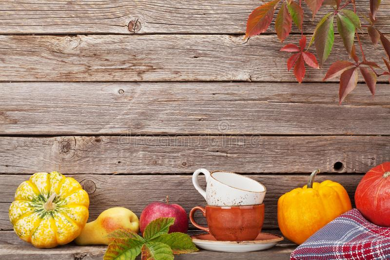 Natura morta di autunno con le zucche ed i frutti fotografia stock