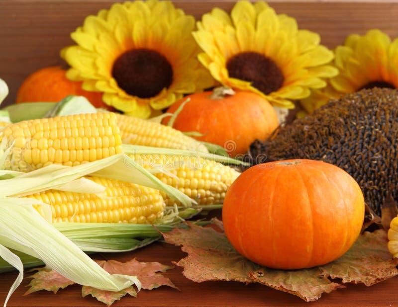 Natura morta di autunno con le zucche, il cereale, le foglie ed i girasoli fotografia stock