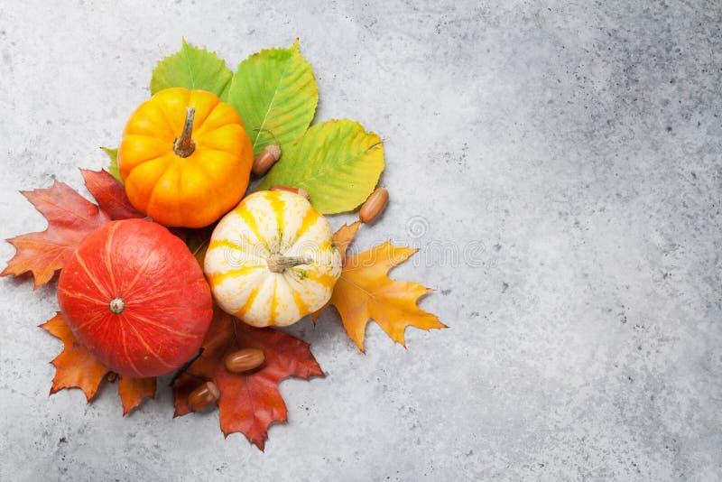 Natura morta di autunno con le zucche immagine stock