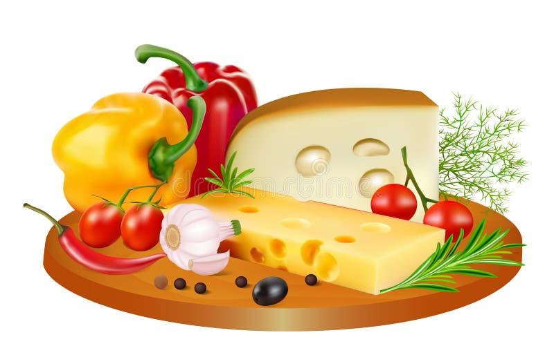 natura morta di formaggio, dei pomodori, dei peperoni dolci e delle spezie illustrazione vettoriale