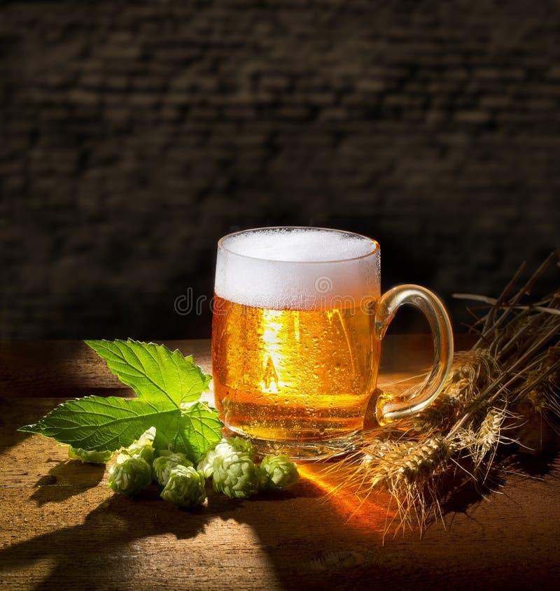 Natura morta di luppolo e della grande birra fotografia stock libera da diritti