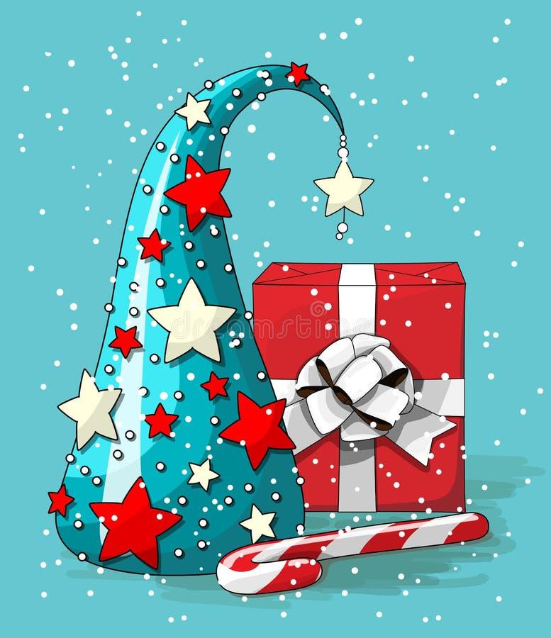Natura morta di Natale, albero astratto blu con il contenitore di regalo rosso e bastoncino di zucchero su fondo blu, illustrazio royalty illustrazione gratis