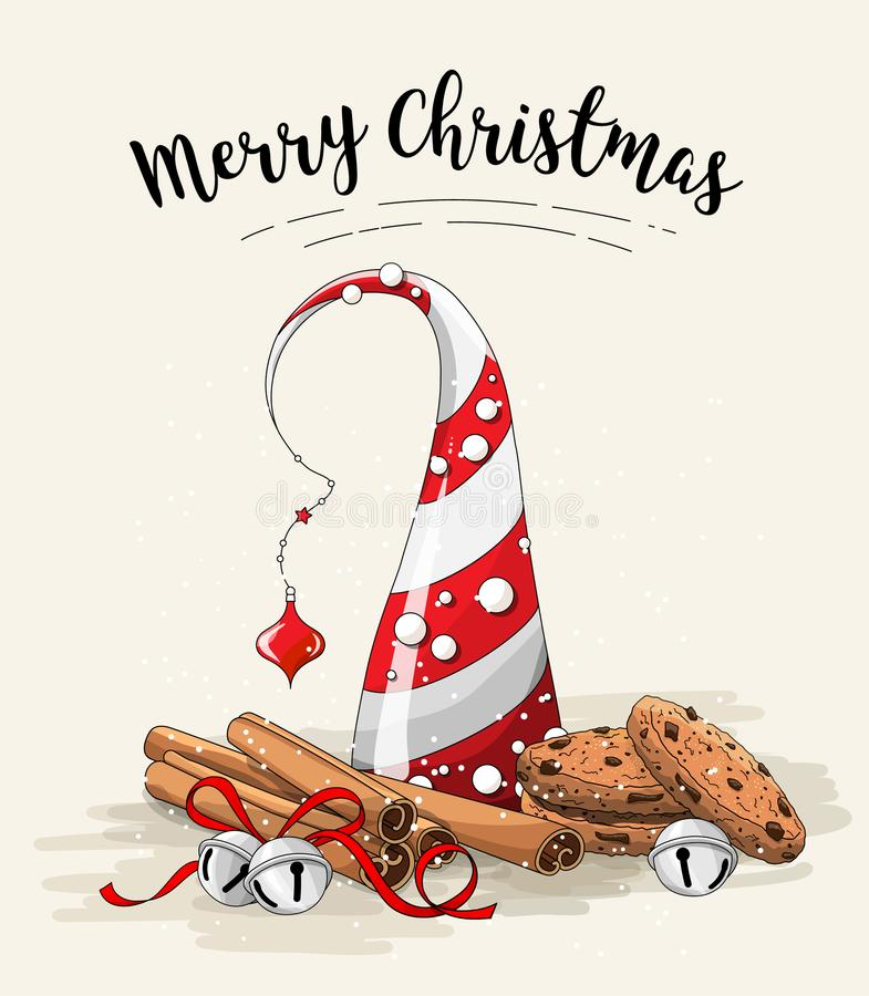Natura morta di Natale, biscotti marroni, albero di Natale astratto, bastoni di cannella e campane di tintinnio su fondo bianco illustrazione di stock