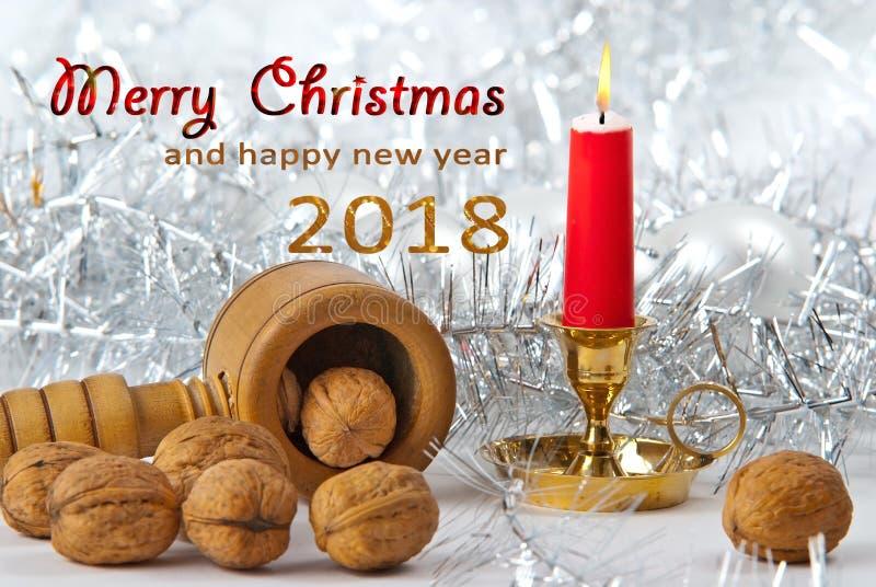Natura morta di Natale con il Buon Natale e nuovo felice immagini stock