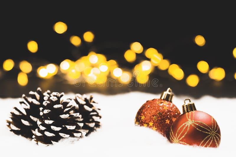 Natura morta di notte o di notte di Natale con le luci del bokeh immagini stock