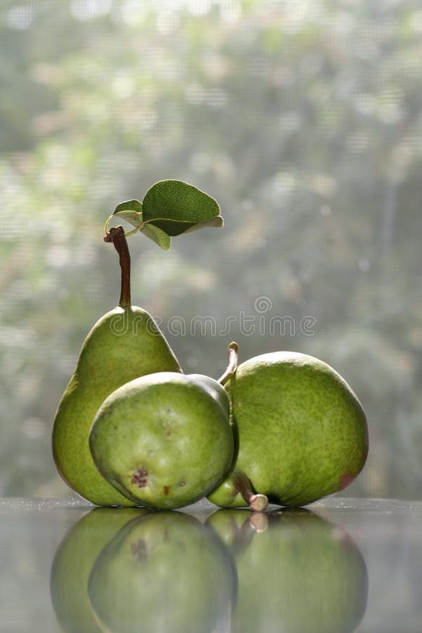 Natura morta di studio della pera con la riflessione fotografie stock