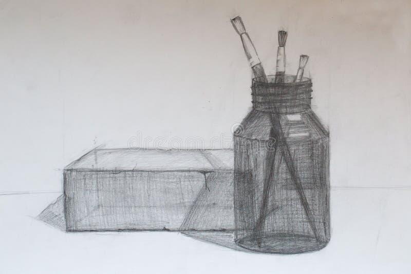 Natura morta, disegno a matita immagini stock