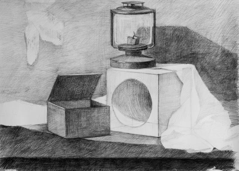 Natura morta, disegno a matita fotografie stock libere da diritti