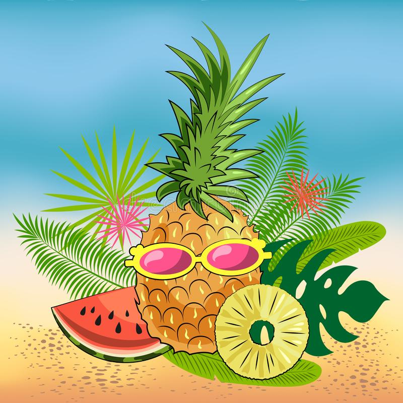 Natura morta luminosa di estate dei frutti sulla spiaggia: ananas, fette di anguria succosa, fette dell'ananas, vetri illustrazione di stock