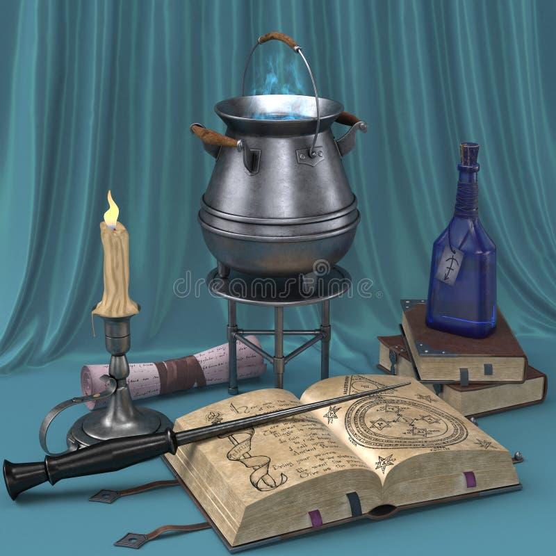 Natura morta magica del fumetto con le immagini dei libri, delle candele e delle pozioni magiche illustrazione vettoriale