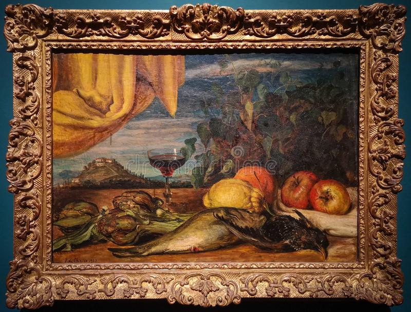 Natura morta, pittura da Giorgio de Chirico fotografia stock libera da diritti