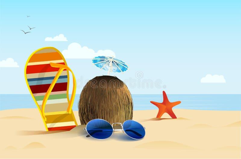 Natura morta sulla spiaggia di estate con la vibrazione, la noce di cocco e gli occhiali da sole illustrazione di stock