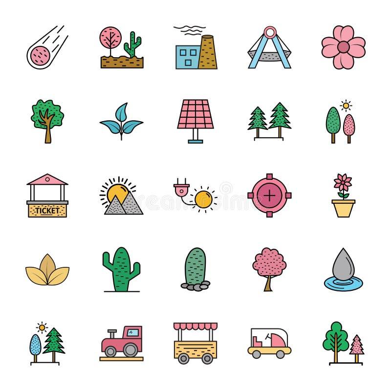 Natura, parki i drzewa, Odizolowywaliśmy Wektorowe ikony Ustawiać które mogą łatwo Redagować w i modyfikować jakaś kolorze lub ro ilustracja wektor