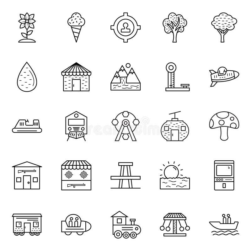Natura, parki i drzewa, Odizolowywaliśmy Wektorowe ikony Ustawiać które mogą łatwo Redagować w i modyfikować jakaś kolorze lub ro royalty ilustracja
