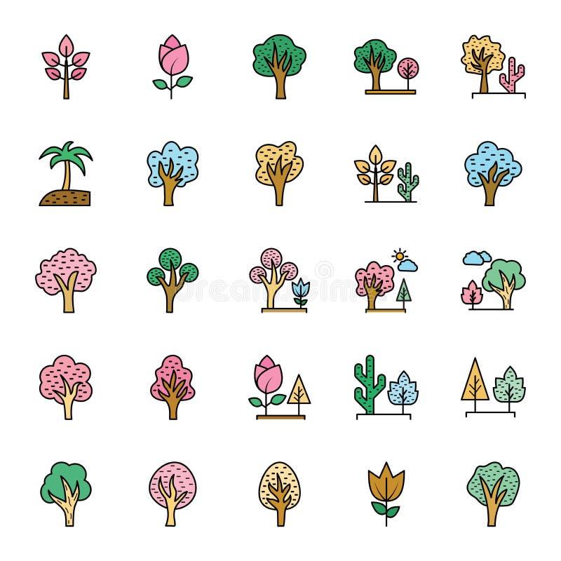 Natura, parki i drzewo Wektorowe ikony które mogą łatwo Redagować w i modyfikować jakaś kolorze lub rozmiarze, Ustawiamy royalty ilustracja