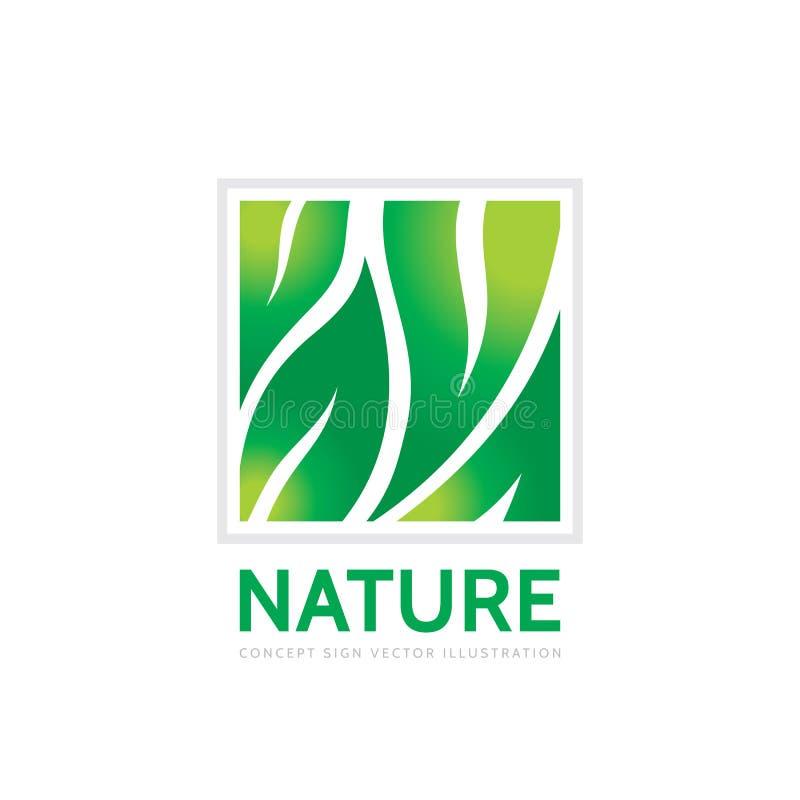 Natura - pojęcie loga szablonu wektoru biznesowa ilustracja Abstrakt zieleń opuszcza kreatywnie znaka Organicznie produkt ikona royalty ilustracja
