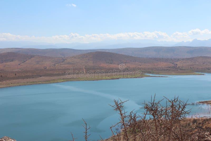 Natura rezerwuar z świeżą wodą, blisko atlant gór w Maroko zdjęcia stock