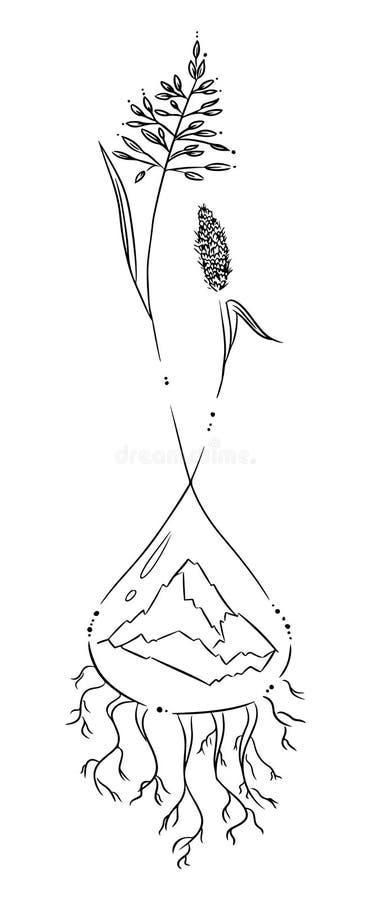 Natura symboli/lów szablon Ziele i góry sprawd? projektu wizerunek mojego portfolio podobne tatua? ilustracji