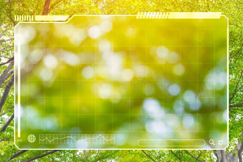 Natura verde dell'albero con lo spazio del pannello di HUD per fondo fotografia stock