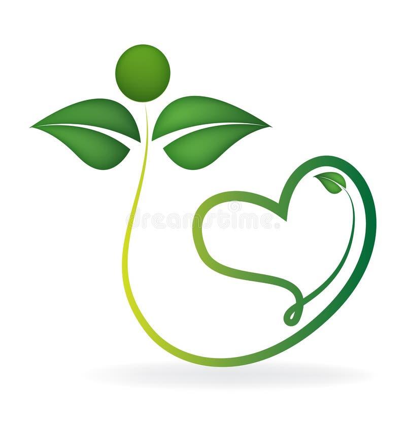 Natura verde sana con il logo del cuore di amore royalty illustrazione gratis