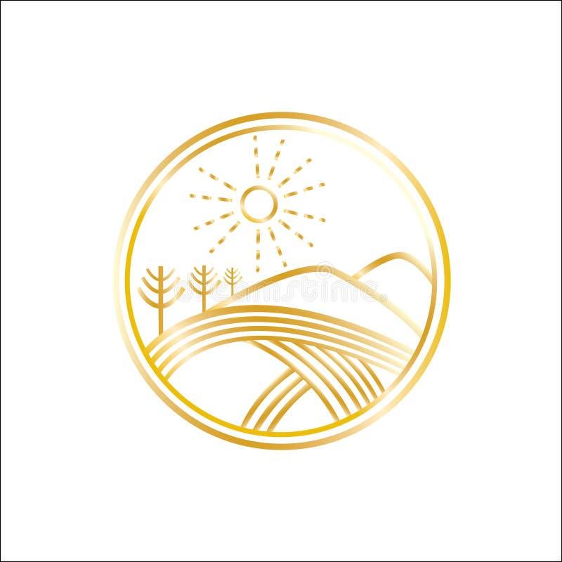 Natura wektoru logo Rolnictwo wektoru logo Pola i drzewo emblemat złoty znak ilustracja wektor