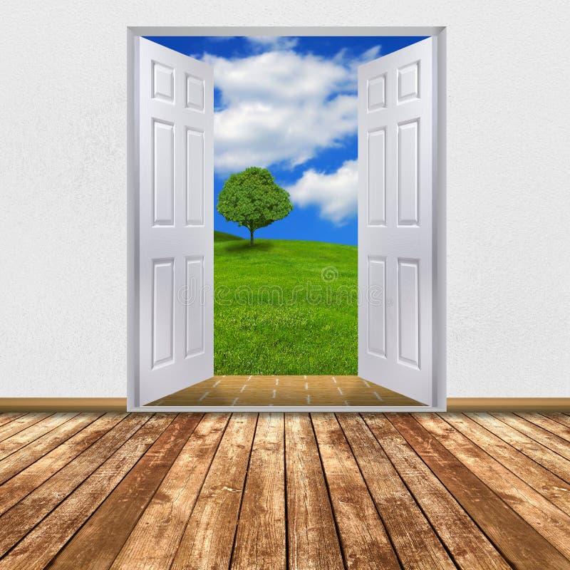 Natura widok przez otwarte drzwi ilustracji