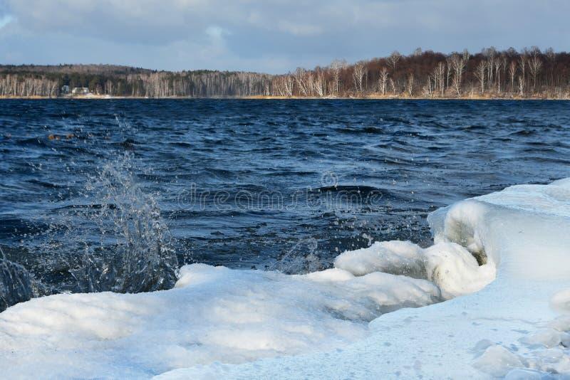 Natura zabytek - jeziorny Uvildy w Listopadzie w wietrznej pogodzie, Południowi Urals, Chelyabinsk region, Rosja fotografia stock