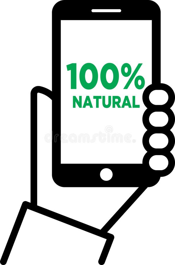 100% natural. Vector illustration - hand holding mobile phone shows the text 100% natural - isolated white background royalty free illustration