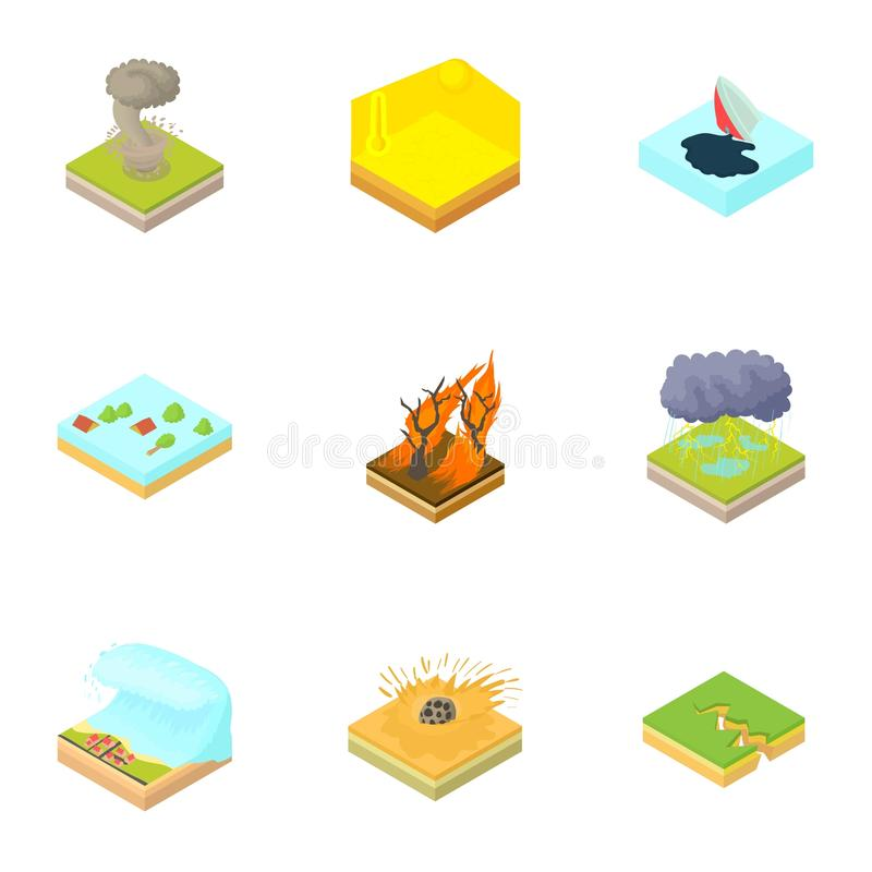 Natural accident icons set, cartoon style stock illustration